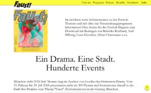 Screenshot der Homepage des Faust-Festivals München