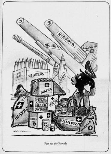Karikatur aus dem Nebelspalter mit der Unterschrift «Post aus der Schweiz» vom 11. Dezember 1968, AfZ PA Syst Sammlung «Biafra» (913)